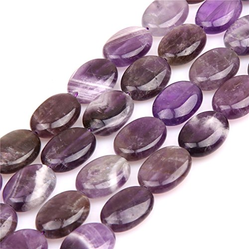 JOE FOREMAN 13x18mm Amethyst Semi Precious Gemstone Oval Loose Beads for Jewelry Making DIY Handmade Craft Supplies 15