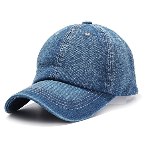 HH HOFNEN Unisex Cotton Denim Baseball Cap Adjustbale Sports Hats (Blue) -