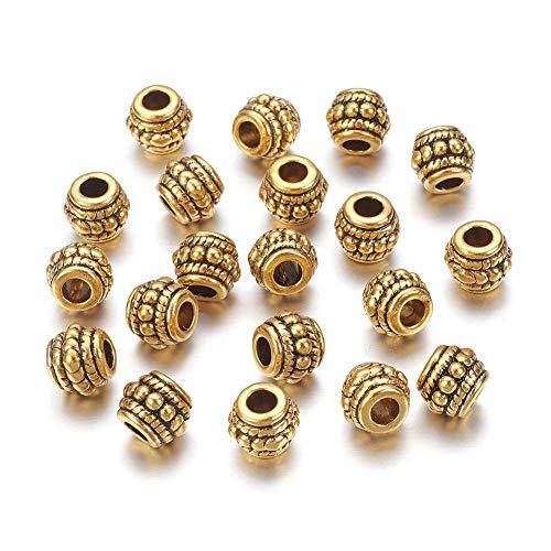 FidgetKute 50pcs Tibetan Alloy Barrel Metal Beads Nickel Free Loose Spacer Antique Gold 8mm