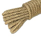 KINGLAKE 100% Natural Thick Strong Jute Rope 65 Feet 5mm 3 Ply Hemp Rope Cord for Arts Crafts DIY Decoration Gift Wrapping