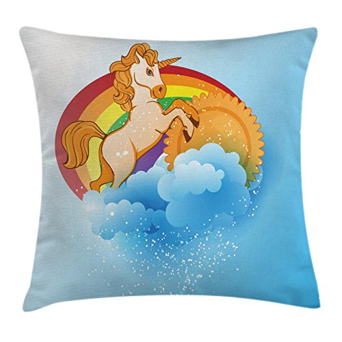 Unicorn Home and Kids Decor Throw Pillow Cushion Cover by Ambesonne, Unicorn with a Single Horn Forehead on Sun Fluffy Clouds Art Print, Decorative Square Accent Pillow Case, 18 X18 (Forehead Horn)