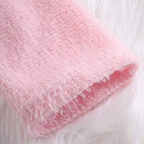 Fuxitoggo color large De Chaqueta Thin Hairy Tamaño Para Manga Cardy Suéter Larga Rosado Xx Mujer Punto fqfrPB