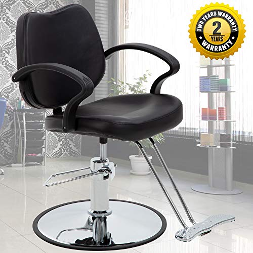 Salon Chair Barber Chair Styling Chair Hydraulic Heavy Duty Leather Swivel Classic Hair Salon Chair Shampoo Tattoo Spa Beauty Equipment for Hair Stylist Women Man,Black
