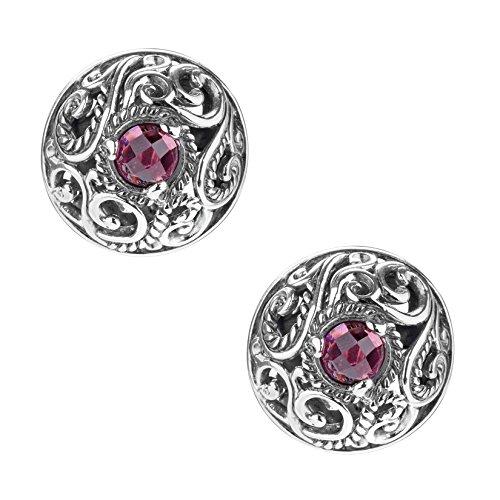 Carolyn Pollack By CP Rhodolite Garnet Button Earrings