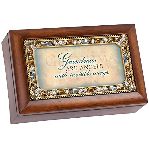 Cottage Garden Grandmas are Angels Jeweled Woodgrain Jewelry Music Box - Plays Tune Wind Beneath My Wings