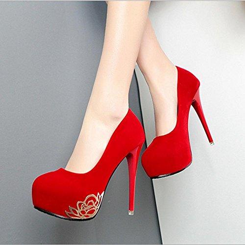 MZG Damen-Damen-Schuhe rund Kopf Kaschmir Gesicht Wasserdicht Tisch High Heel feine mit Schuhen Dinner Party Kleid Schuhe rot