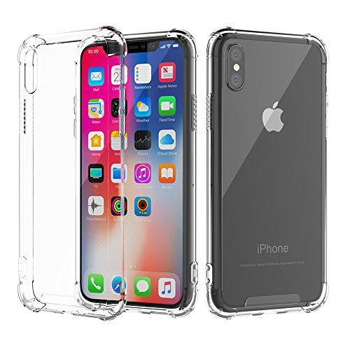 iPhone X Case, Tradetoline iPhone X Clear Case TPU Bumper Cushion Hybrid Shock Absorption Drop Protection Anti-Scratch Hard Plastic Back Transparent Case for iPhone X/10 (HD Clear)