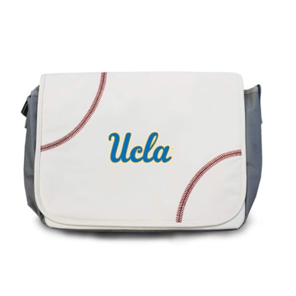 Zumer Sport UCLA ブルーインズ ベースボール レザー ノートパソコン コンピューターケース メッセンジャー ショルダーバッグ - 実際の野球素材製 - ホワイト   B07Q4ZW2FH