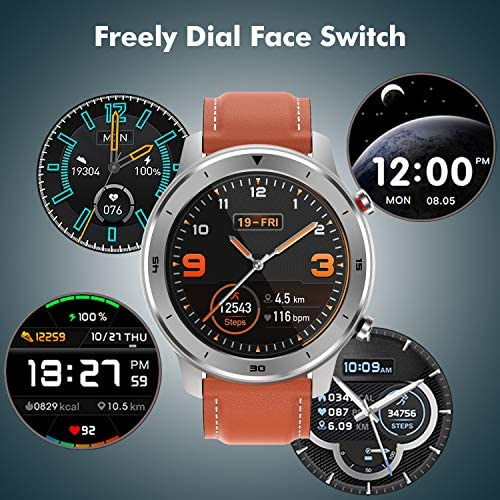 Smart Watch, Popglory Smartwatch HR, Touchscreen 1.3″ Fitness Watch with Blood Pressure Monitor, IP68 Waterproof Fitness Watch, 15 Days Battery Life Compatible with Android Phones and iPhone 51uJtSaOxKL