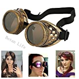 Betan New Sell Diamond Lens Vintage Steampunk Goggles Glasses Welding Cyber Punk Gothic-Copper