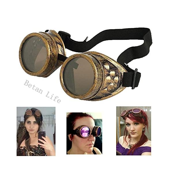 TBWHL New Sell Diamond Lens Vintage Steampunk Goggles Glasses Welding Cyber Punk Gothic-Copper 3