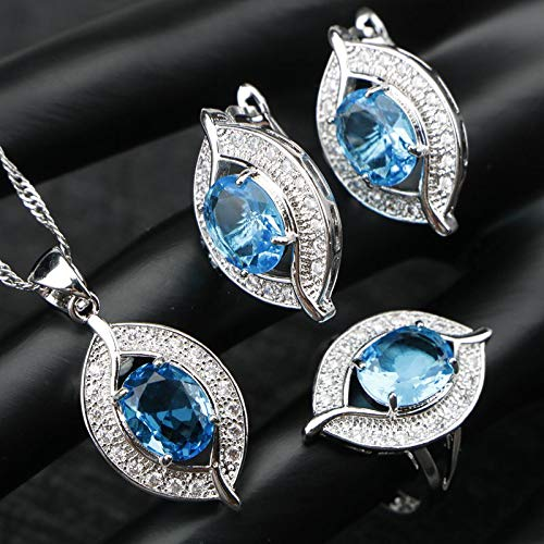 (Green Cubic Zirconia Silver 925 Jewelry Sets for Women   Earrings/Pendant/Necklace/Rings)