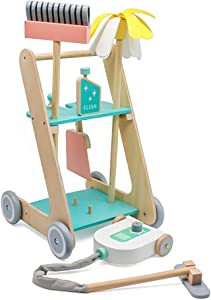 london-kate Kids Wooden Play Pretend Cleaning Kit - Cleaning cart with Pretend Vacuum, Broom, and Mop (Pink)