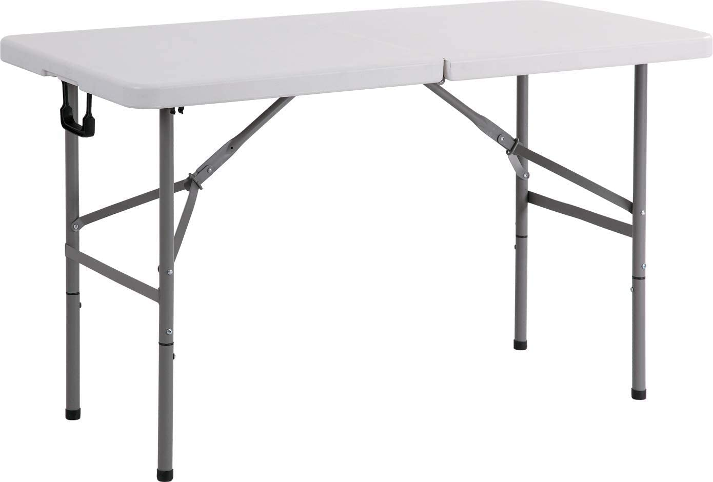 New Home Era Folding Utility Table, 4ft Fold-in-Half Portable Plastic Picnic Party Dining Camp Table