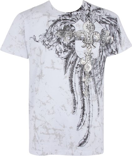 TGFleurCross507 Fleur de Lis Cross Metallic Silver Embossed Short Sleeve Crew Neck Cotton Mens Fashion T-Shirt - White/XX-Large
