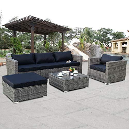 Tangkula Patio Furniture Set 6 Piece Outdoor Lawn Backyard ...