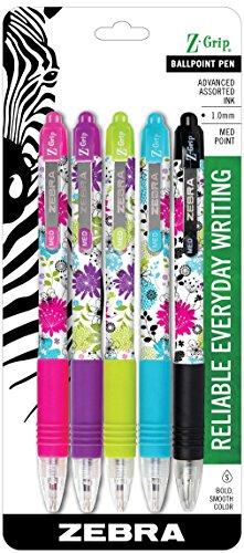 Daisy Pen (Zebra Z-Grip Floral Retractable Ballpoint Pen, Medium Point, 1.0mm, Assorted Colors, 3-Count)