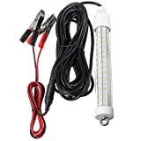 HonsCreat 12V 10W 180 LEDs 2000 Lumens LED Submersible Fishing Light Underwater Fish Finder Lamp with Battery Clip & 5m Cord
