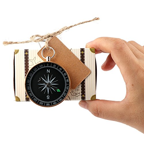 AerWo 20pcs Compass Gift + 20pcs Suitcase Favor Boxes, Creative Vintage Party Favors Travel Themed Wedding Party Souvenirs for Guests