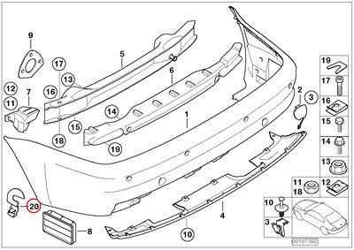 BMW Genuine Rear Bumper M Trim Right Bracket M3 E46 Bumper Parts
