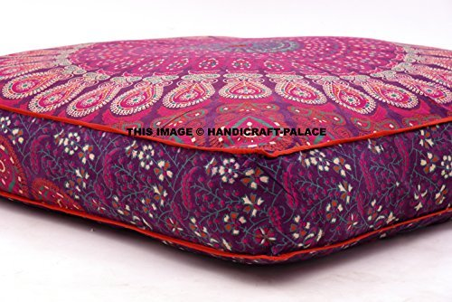 Child's Floor Lounger Seats and Pillow Cover Peacock Mandala Print Indian Tapestry Ottoman Poufs Large Made of Soft Cotton Fabric - Perfect Reading and Watching TV Cushion - Great for Sleepovers