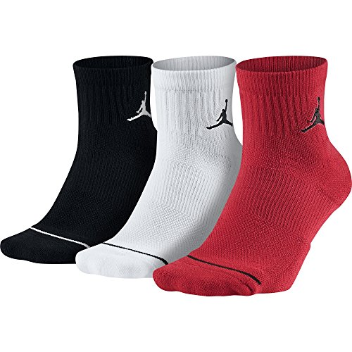 - Nike Jordan Jumpman Dri-Fit Quarter Socks Multi 3 Pair SX5544-011 (Red/Black/White, Large / 8-12)