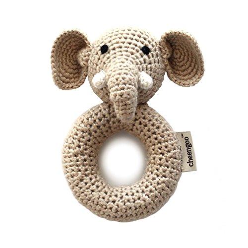 Cheengoo Sustainable Organic Bamboo Hand Crocheted Ring Rattle - Elephant