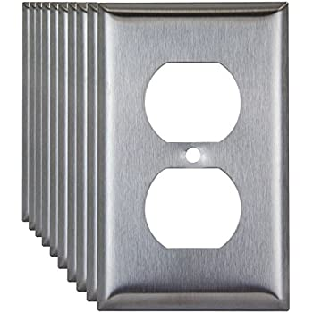 Enerlites 7721 1-Gang Duplex Receptacle Stainless Steel Wall Plate, Standard Size, 10 Pack