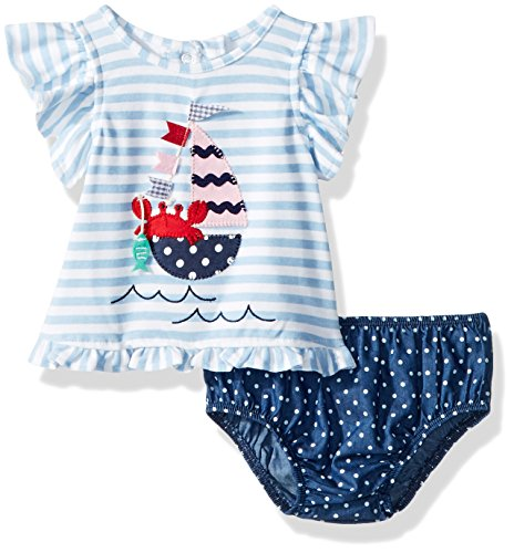 Mud Pie Baby Girls Sailboat Flutter Sleeve Pinafore & Bloomer 2 Pc Playset, Blue, 3-6 Months