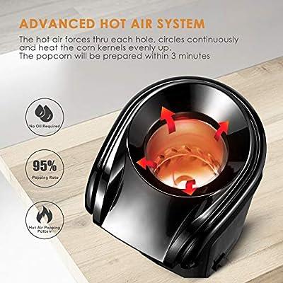 Aicok Palomitero, 1200W Máquina de Palomitas de aire caliente, Sin Aceite, Diseño Con Apertura Amplia, Tapa Removible, y Libre de BPA, Negro