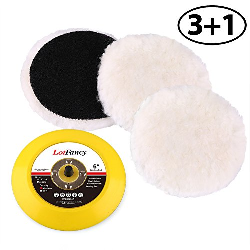 LotFancy 6-Inch Wool Polishing Pads and Velcro Backing Pad Kit - Car Auto Velcro Buffing Pads, for Rotary and Random Orbit Sander/Polisher, Pack of (Paint Polisher)