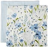 Little Unicorn Deluxe Muslin Swaddle Blankets (set Of 2) - Windflower Set, Light Blue