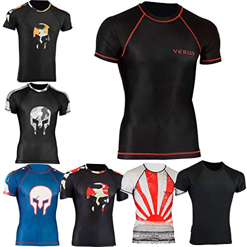 Verus Rash Guards MMA Grappling Jiu Jitsu Training Gear Fight Wear Shirts UFC (Black/Warrior, XLarge) ()
