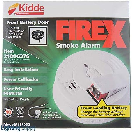 KIDDE i12060 120V AC DC Smoke Alarm Hush Spring Load Replaces 1276 LOT OF 6 by KIDDE