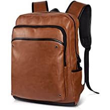 5d059ee398 Vbiger Vintage PU Leather Laptop Backpack School College Bookbag Computer  Backpack for Men