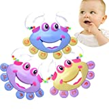 3 Pack Colorful Crab Rattles for Baby Infant Toddlers,Small Play Handbell Intelligence Plastic Musical Mobiles Toys,Development Hand Eye Coordination Ability,Children's Best Christmas Birthday Gift