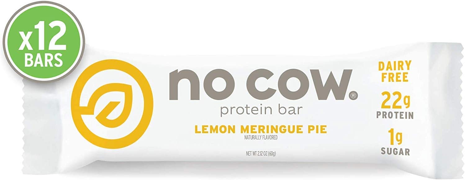 No Cow Protein Bar, Lemon Meringue Pie, 22g Plant Based Protein, Keto Friendly, Low Carb, Low Sugar, Dairy Free, Gluten Free, Vegan, High Fiber, Non-GMO, 12Count