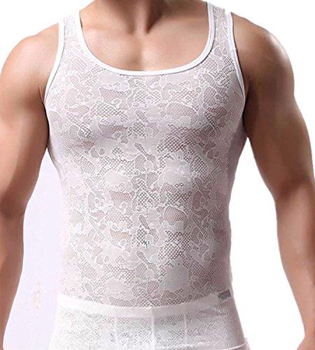Olens Men's Lace Mesh See-through Tank Top Vest
