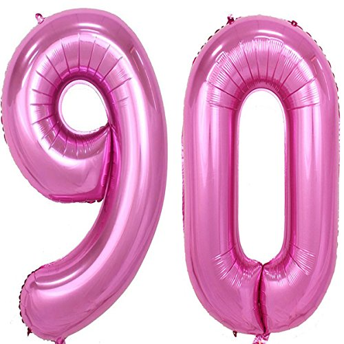 40inch pink Foil 90 Helium Jumbo Digital Number Balloons, 90th Birthday Decoration for Women or Men, 90 Birthday Party Supplies
