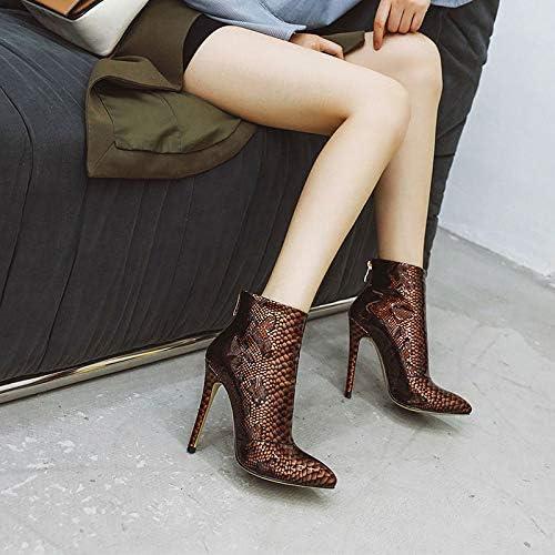 SHZSMHD Botines de Mujer a estrenar Zapatos de tacón Fino con Estampado de Serpiente de Moda Botas Cortas de otoño Invierno Verde Yellow bWR5g