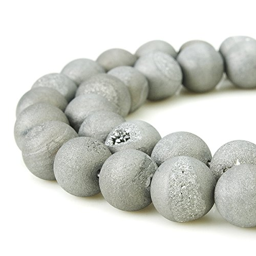 Druzy Beads (BEADNOVA 8mm Natural Grey Druzy Agate Gemstone Gem Strand Round Loose Beads for Jewelry Making)