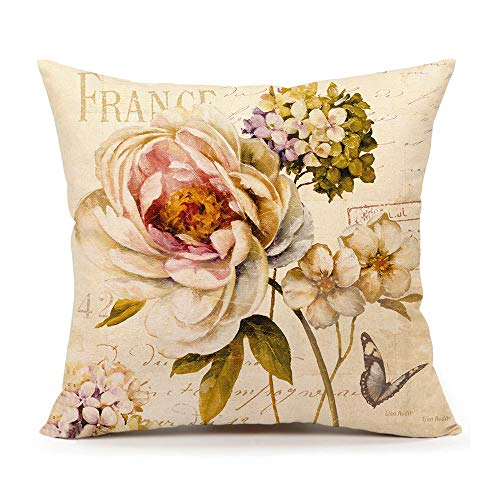 4TH Emotion Marche de Fleurs III by Lisa Audit Vintage Flower Butterfly Home Decor Design Throw Pillow Cover Pillow Case 18 x 18 Inch Cotton Linen for Sofa (French Pillows Country)