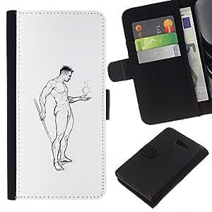 Be-Star la tarjeta de Crédito Slots PU Funda de cuero Monedero caso cubierta de piel Sony Xperia M2 ( Nude Man Body Pencil Art Drawing Masculine )
