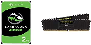 Seagate Barracuda 2TB Internal Hard Drive HDD – 3.5 Inch SATA 6Gb/s 7200 RPM 256MB Cache 3.5-Inch & Corsair Vengeance LPX 16GB (2x8GB) DDR4 DRAM 3200MHz C16 Desktop Memory Kit - Black