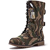 DailyShoes Women's Military Lace Up Buckle Combat Boots Mid Knee High Exclusive Credit Card Pocket, Classic Army, 13 B(M)