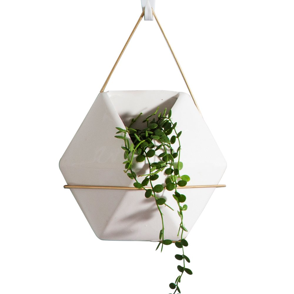 Modern Hanging Planter Vase, Geometric Wall Decor Container - Great For Succulent Plants, Air Plant, Faux Plants,White Ceramic/Brass
