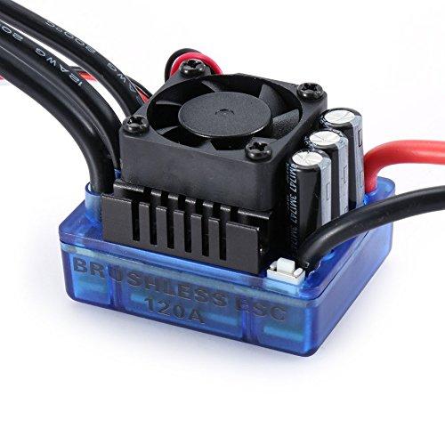 Blu KNOSSOS 4076 2000KV Brushless Motor 120A ESC LED Scheda di Programmazione per 1//8 RC Car