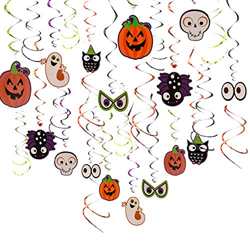 30pc HALLOWEEN Party Decorations Supplies Cute Hanging Shiny Swirls, Pumpkin,Skeleton,Ghost,Owl, Festive decors,Easy to Assemble Great for Party -
