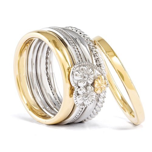 Floral Diamond Heart (Sterling Silver & 14K Yellow Gold Plated Diamond Floral Heart Ring Set (I3 Clarity, H-I Color) Sz 10)