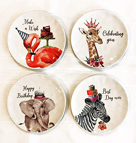 Birthday Cake Dessert Plates by Celebrate | Set of 4 | Flamingo, Elephant, Zebra & Giraffe - Celebrate Dessert Set Plate 4